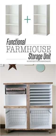 Check out these 13 farmhouse hacks! Get the fixer upper look without the cost! LOVE these easy farmhouse decor ideas! Diy Storage Unit, Storage Hacks, Paper Storage, Storage Room, Storage Solutions, Furniture Projects, Wood Furniture, Home Projects, Furniture Storage