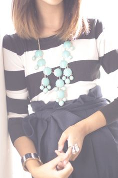 Navy striped shirt with bow skirt and cute aqua bauble necklace