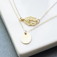 Hamsa Hand Gold Layered Necklace Set Delicate by TheSilverWren, $44.00
