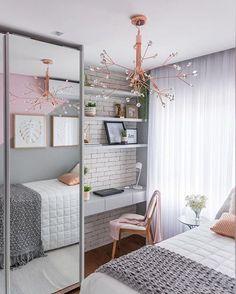 71 Stunning Small Bedroom Design Ideas – – Home Office 2020 Small Room Design Bedroom, Room Ideas Bedroom, Home Room Design, Study Room Decor, Home Decor Bedroom, Small Bedrooms Decor, Small Bedroom Ideas For Teens, Small Bedroom Office, Guy Bedroom