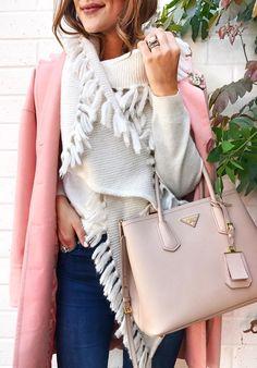 #winter #fashion /  Pink Coat + Fringe Wool Scarf + Light Pink Leather Tote Bag