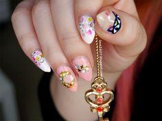 Sailor Chibimoon inspired nailart by http://love2807.blogspot.de/2016/01/sailor-moon-blogparade-small-lady.html