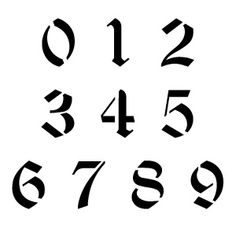 Old English Number Stencils Number Tattoo Fonts, Number Tattoos, Number Fonts, Tattoo Lettering Fonts, Hand Lettering, Font Tattoo, Old English Tattoo, Old English Font, Typography Drawing