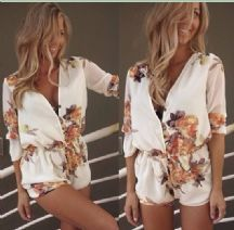 White Lace/Chiffon/Cotton Flower Print V-neck Jumpsuit