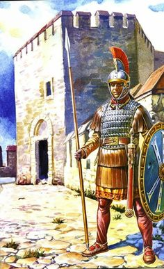A Late Roman Guardsman. He caries a shield with a Chi-Rho symbol, which is Greek for Christ. A selection of Late Roman shield emblems can be seen in the Notitia Dignitatum.
