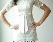 Vintage 70's White CROCHET LACE Big Bow Micro Mini Layering Scalloped Tiers Tunic Dress