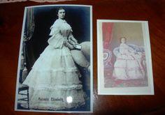 Sissi nel 1855, in una cartolina e in un cdv dello studio Angerer di Vienna, colorato a mano, dalla mia collezione di foto d'epoca.