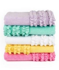 Ruffled Bath Towels (also available in hand towels and wash cloths.) - Bath Towel - Ideas of Bath Towel - Ruffled Bath Towels (also available in hand towels and wash cloths. Girl Bathroom Decor, Bathroom Kids, Bathroom Towels, Bath Towels, Ikea Bathroom, Bathroom Stuff, Bath Linens, Bath Girls, Kids Bath