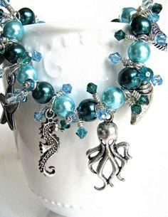 Beach Bling Bracelet With Dark Blue Green Faux Pearls