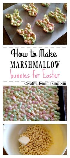These fun marshmallow bunnies are a fun and easy treat to make for kids for Easter. #easter