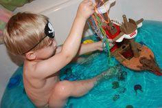 Momma's Fun World: Pirate themed bath fun....Day 3