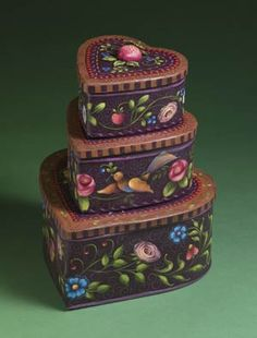 Stacked Heart Boxes Designed by Rosemary West.  Painted these with Rosemary in Salado, Texas.