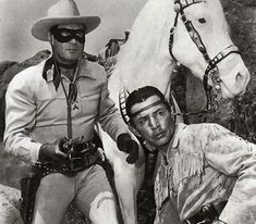 The Lone Ranger...of course.   TV show  aired from 1949 to 1957, and starred Clayton Moore as the Lone Ranger and Jay Silverheels as Tonto.