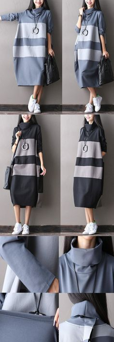 BUYKUD-Big stripe long dress for autumn day.hand wash. buykud dresses.