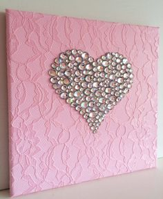 Set of 3 pink and white girls room handmade canvasses. - Set of three heart canvasses. Painted with acrylic (pink and white) paint, decorated with ac - Fabric Wall Art, Mural Wall Art, Wall Art Sets, Diy Wall Art, Diy Art, Wall Décor, Button Art, Button Crafts, Diy Canvas