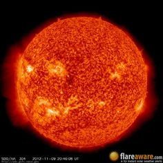 The hourly sun (at 08:46 pm UTC on 9 November 2012)