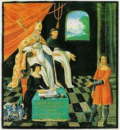Miniature représentant le procès de Gilles de Rais (XVIIesiècle). Armes du président Bouhier, manuscrit à peinture, latin 17663, Paris, BnF.