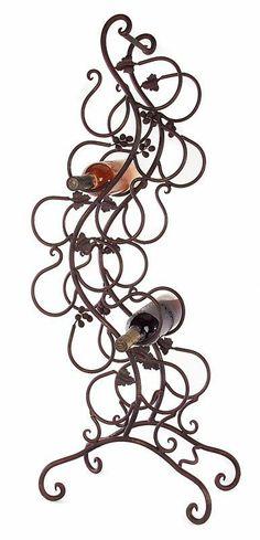 wrought iron wine racks floor models   12 Bottle Floor Curvy Whimsy Wine Rack