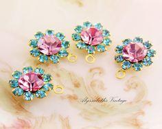 Vintage Swarovski Rhinestone Flowers Aquamarine and Rose Pink Drops Charms - 4 by alyssabethsvintage on Etsy