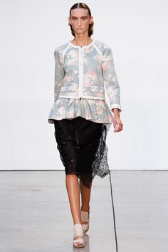 """Interesting faded rose print denim cardigan jacket with braided leather trim."" Thakoon Spring 2013 RTW"