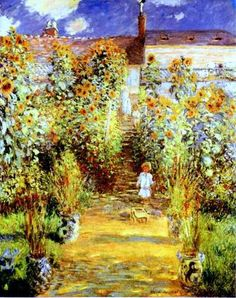 Monets Garden At Vétheuil,  Claude Monet (1840 - 1926, French), I AM A CHILD-children in art history-blog