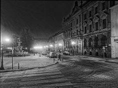 Late evening on White Eagle Square Stettin-Szczecin December Poland.