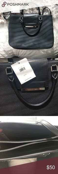 Calvin Klein leather bag Black leather CK bag. Lots of compartments. Includes long strap. Brand new . Great for thin laptop/work bag. Fits my MacBook Air . Key chain included Calvin Klein Bags Laptop Bags