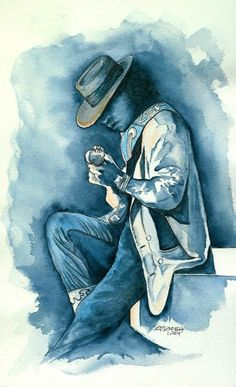 Stevie Ray Vaughn Watercolor Print Stevie Ray Vaughan Guitar, Steve Ray Vaughan, Blues Artists, Music Images, Blues Music, Blues Rock, Blue Art, Art Music, Watercolor Print