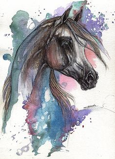 AngelHorses   WATERCOLOR and ink