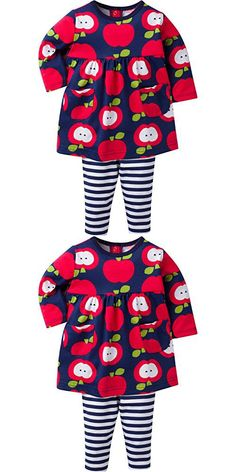 Gerber Girls' Dress and Legging Set, Apple, 12 Months