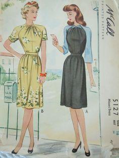 Vintage McCall pattern 5127, dress, raglan sleeves