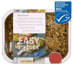 Waitrose Easy To Cook 2 haddock fillets with cheese, basil & parmesan crumble