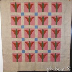 EARLY PA c 1840/50s Tulip Antique QUILT Brilliant Blue Green Lancaster County