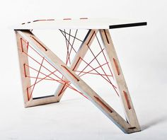 Agustina Bottoni // Puntada coffee table // Agustina Bottoni uses principles of geometry and stitching through pierced holes to create a strong structure supported by tension to hold up 'Puntada', a coffee table. Furniture Projects, Table Furniture, Cool Furniture, Furniture Design, Paper Bridge, Cnc, Natural Interior, Bespoke Furniture, Chair Fabric