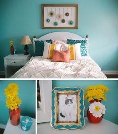 Love Lane Baldwin's guest bedroom! | Gold and Aqua Bedroom Makeover