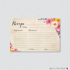 floral bridal shower recipe cards printable flower bridal shower recipe card and invitation insert shabby chic recipe cards 0002a