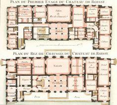Le Rouge, Georges Louis.Les Jardins Anglo-Chinois.This plate: Cahier 3, Pl. 10. Plan du Premier Etage du Chateau de Roissy.Paris, ca. 1770.Original engraving.Sheet size: 11 1/4 x 16 1/2 in.
