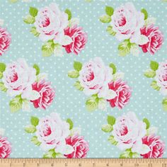 Tanya Whelan Sadie's Dance Card Dottie Rose Jade from @fabricdotcom  Designed by Tanya Whelan for Free Spirit Fabrics, this cotton print collection features sweet, retro florals, polka dots, and stripes. Perfect for quilting, apparel, and home decor accents. Colors include minty aqua, shades of pink, white, and green.