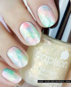 Buff and Polish, Beautiful and soft Opal Nails with flakies, pastel...