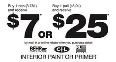 Home Depot - Mail In Rebate on BEHR, CIL or RL Paint. Valid October 30-November 5, 2014.    #simpleliving #blog #savemoney #frugal #frugalliving www.mrsjanuary.com