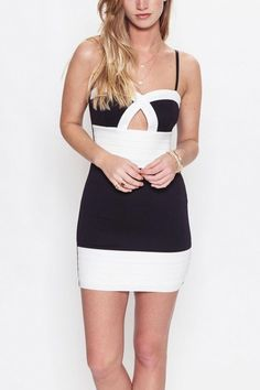 Little Black Dress with white horizontal pleat detail. Keyhole detail in the middle. Adjustable straps. This is a basic black and white dress that will be your go-to dress for many occasions. Put over a black blazer and you're ready to go out to a dinner date!  Bodycon Dress by Bonded Boutique. Clothing - Dresses - Night Out Philadelphia, Pennsylvania