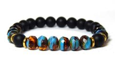Happiness and Good Fortune Gemstone Bracelet made with 8mm Black Onyx with High…