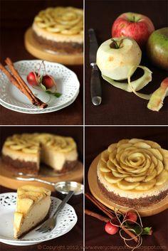 in another language but the cake top is a beautiful idea! Every Cake You Bake: Sernik cynamonowy z jabłkami