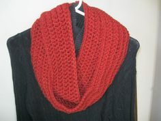 INFINITY LOOP SCARF:  Deep Red Infinity Scarf hand-crocheted with a high quality acrylic yarn. This yarn is considered bulky and gives that extra warmth.  The color is a deep red - yarn is called Redwood..approaching a maroon, but not quite that dark. The pictures don't do this yarn justice...it looks more beautiful in person.  I design and hand-crochet all of my scarves. These bulky ones are my best sellers.  Comes from a smoke-free, pet-free home.