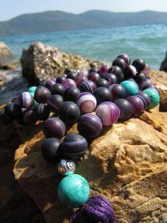 Free Shipping - 108 Mala Beads, Purple Agate & Turquoise Gemstone, Gypsy Jewelry, Mala Necklace, Yoga Jewelry, Mala Bead, Bohemian Necklace