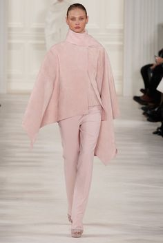 Ralph Lauren Fall-Winter 2014-2015 Womens showcasing the powder pink color trend from head to toe!