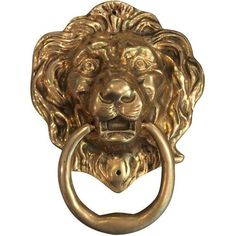 Oversize Brass Lion Head Door Knocker ($325) ❤ liked on Polyvore featuring home, home decor, decorative hardware, door knockers, brass door knocker, decorative door hardware, door knocker, lion head door knocker and brass home decor