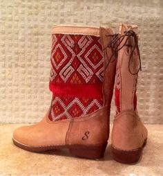 Handmade leather vintage kilim tall boots. by SouliandSouli