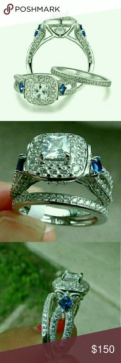 NWT Princess Cut Cz 925  Wedding Set Size 9 An absolutely gorgeous set with blue cz's on the sides. This is even more beautiful than in the pictures. The elegance of this set will make everyone think it is a real diamond. Stamped 925. Check out my other sizes in this set. Jewelry Rings