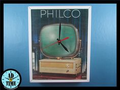 Items similar to Philco Predicta Television Clock, Vintage Mid Century Modern Advertisement, Handmade, Custom Order! on Etsy Retro Home Decor, Vintage Ads, Vintage Kitchen, Mid-century Modern, 1950s, Creativity, Mid Century, Clock, Handmade